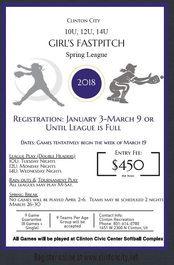 2018 Girls Fastpitch Spring League Flyer