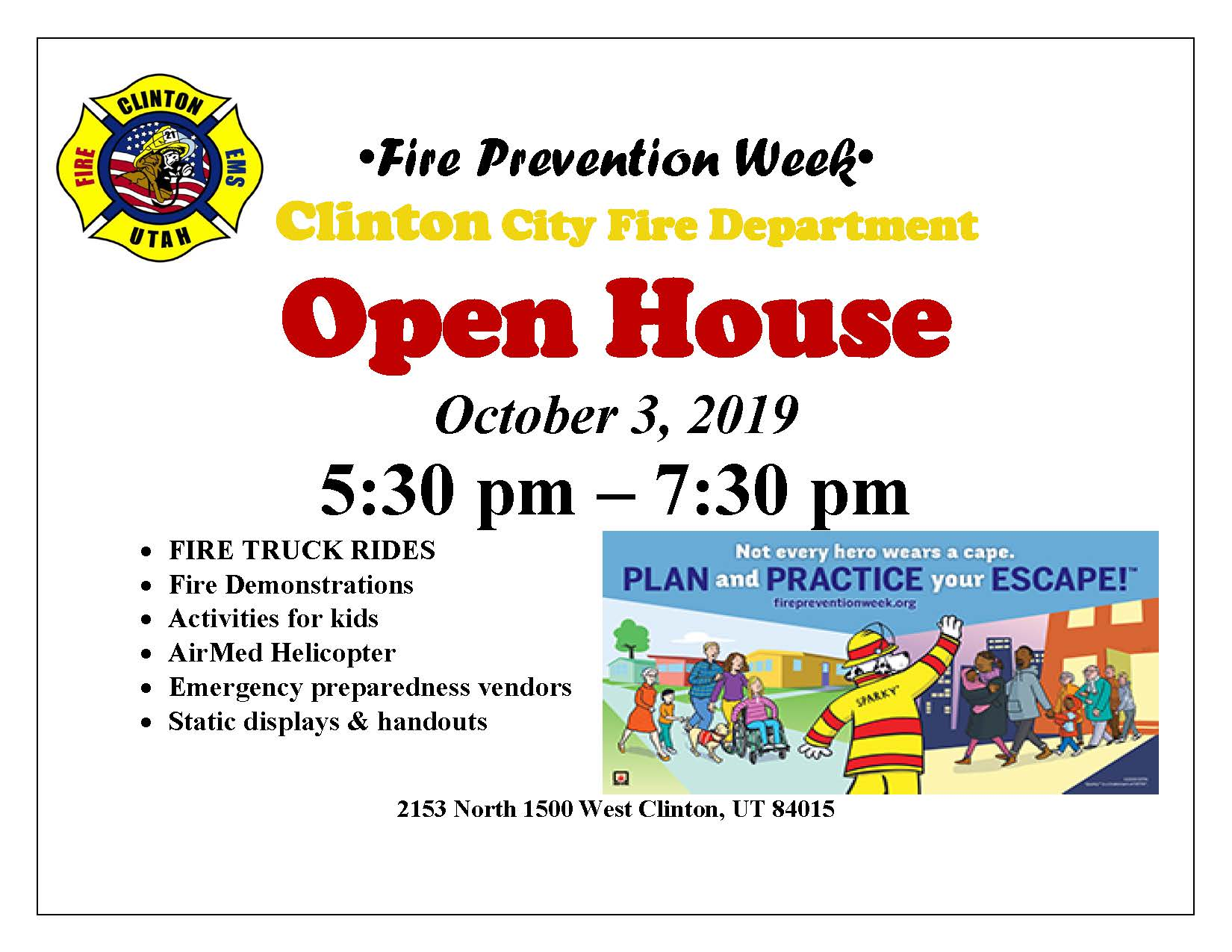 Fire Prevention Week flyer 2019