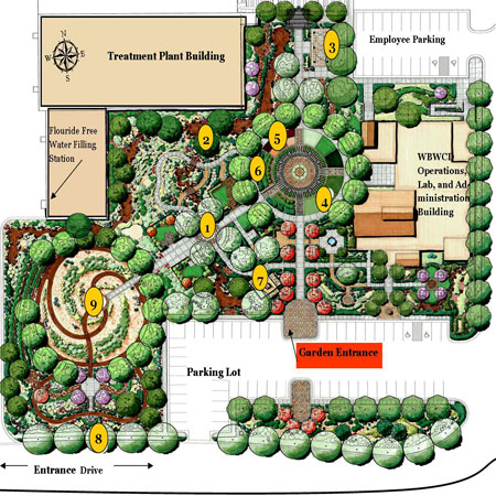 An illustrated map of the Conservation Garden